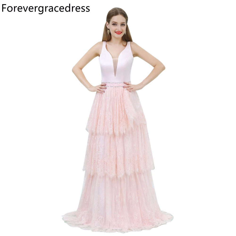 Forevergracedress Gorgeous Blush Pink V Neckline Prom Dress A Line Lace Long  Homecoming Evening Party Gown Plus Size Custom Made 962507266f2c