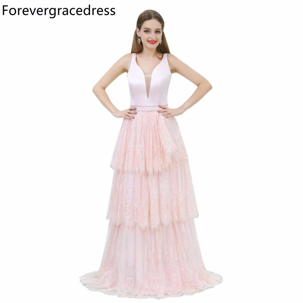 Forevergracedress magnifique Blush rose V décolleté robe de bal une ligne dentelle longue retour robe de soirée grande taille sur mesure