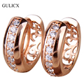 GULICX Fashion  Gold Platinum Plated Hoop Earring Round White Crystal Hoop Earing with Pave Stones Women Wedding Jewelry E111
