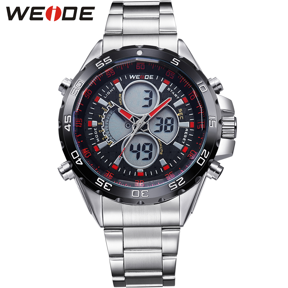 ФОТО WEIDE Military Sport Men's Casual Wristwatches Waterproof Analog Quartz Digital Dual Time Multi-Functional Luxury Brand Watch