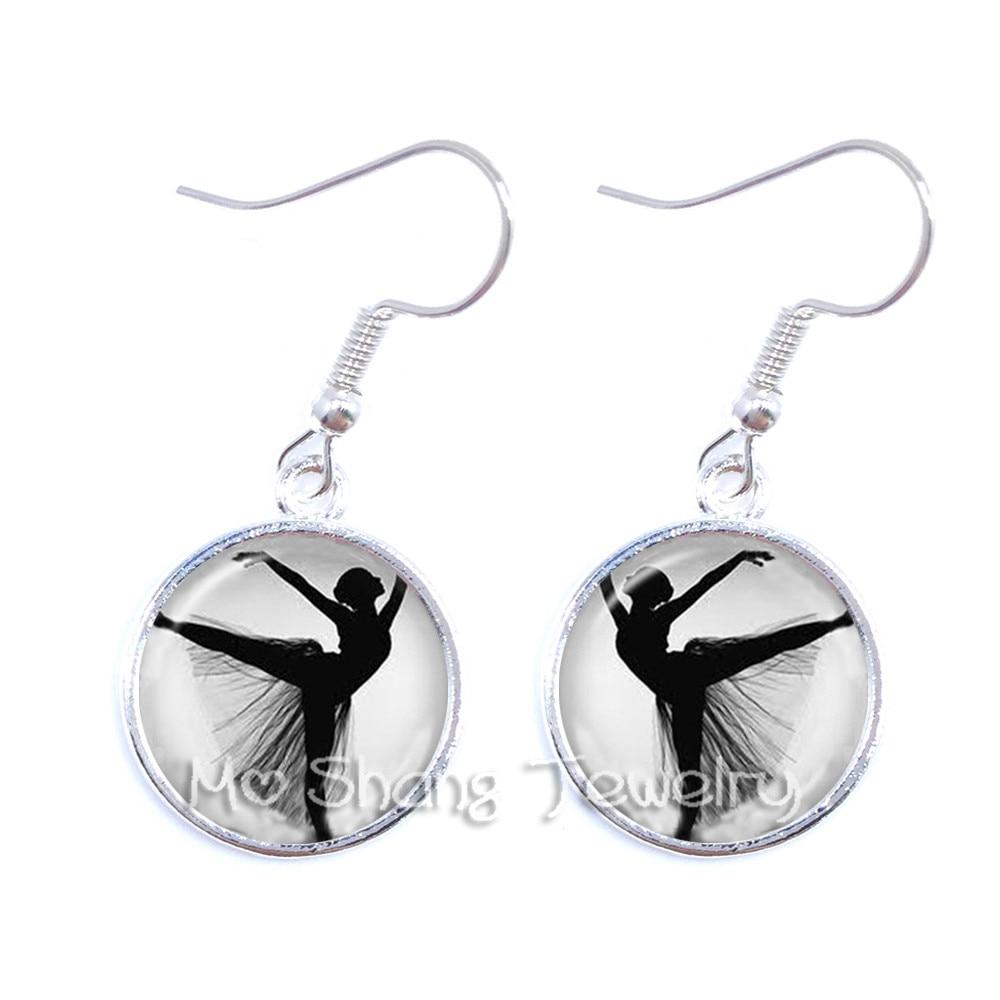 Silhouette Earrings: 2018 Silver Plated Ballerina Silhouette Drop Earrings