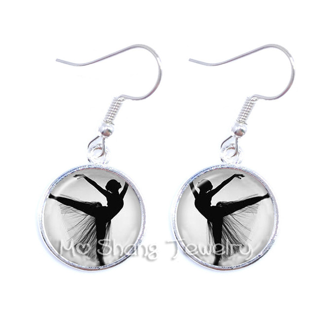 2018 Silver Plated Ballerina Silhouette Drop Earrings Ballet Dancer Art Photo Jewelry Women