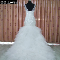 QQ Lover новый роскошный бисером Русалка свадебное платье 2018 супер блестящие бусины Vestido De Novia с реальные фотографии