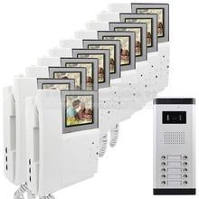 """DIYSECUR 4.3 """"HD Monitor de Apartamentos Video de La Puerta Sistema de Teléfono Video Del Timbre Del Intercomunicador 700 de la Cámara del IR para 10 Familias"""