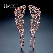 UMODE Hot Punk Style Statement Cross Drop Earrings for Women Rose Gold Color Wedding Party Jewelry Brincos Christmas Gift UE0317