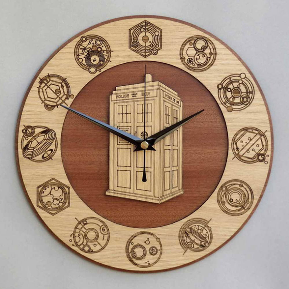 Home Decor Doctor Who Best 3D Art Wall Clock 12 Inch Wood TARDIS Art Clock Home Decoration Accessories Modern New Arrival