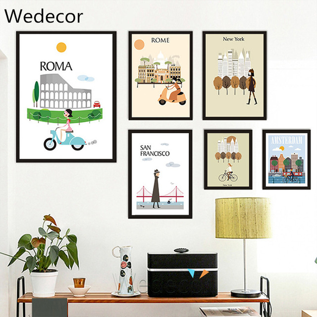 Nordic Cartoon City Landmark Roma New York London San Francisco Painting Home Decor Wall Art Picture Poster For Living Room