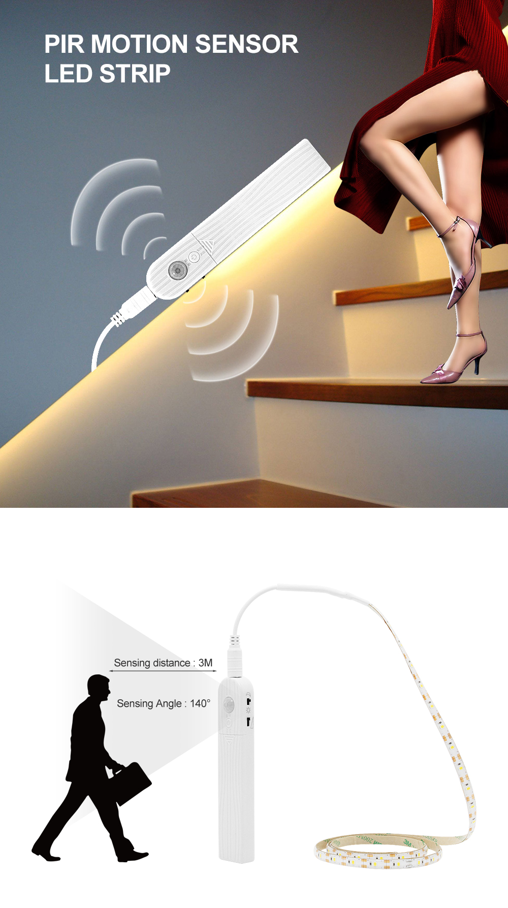 ANBLUB 1M 2M 3M Motion Sensor LED Night light Bed Cabinet Stairs light LED Strip lamp Battery Powered For TV Backlight lighting