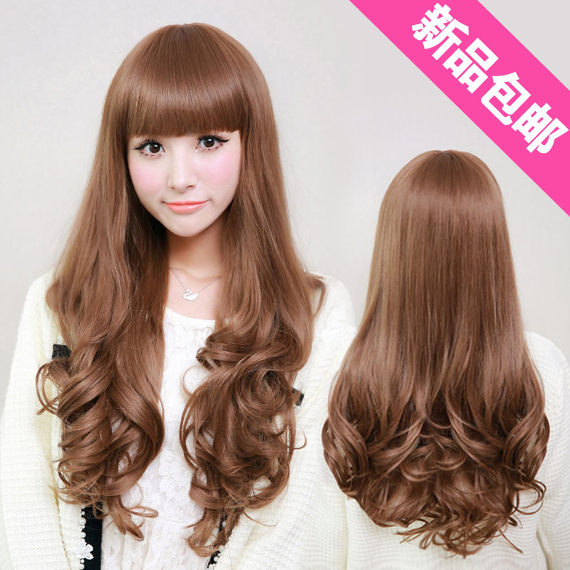 Wig Girls Fluffy Dull High Temperature Paint Wire Long Curly Hair