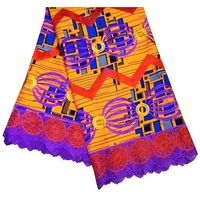 6Yards/pc Beautiful purple african water soluble lace with yellow background printed cotton fabric for dress LBL39 2