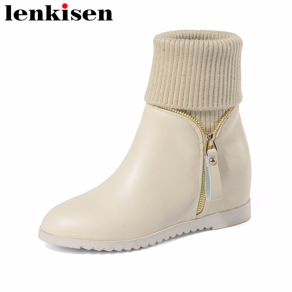 Lenkisen new arrival plus size round toe natural leather slip on med heels zipper decoration all-match women ankle boots L7f4Lenkisen new arrival plus size round toe natural leather slip on med heels zipper decoration all-match women ankle boots L7f4