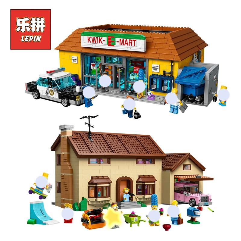 цена на Lepin Movie 16004 16005 House Building The Simpsons Bart Homer the Kwik-E-Mart Set Blocks Bricks Compatible 71006 71016 Toy