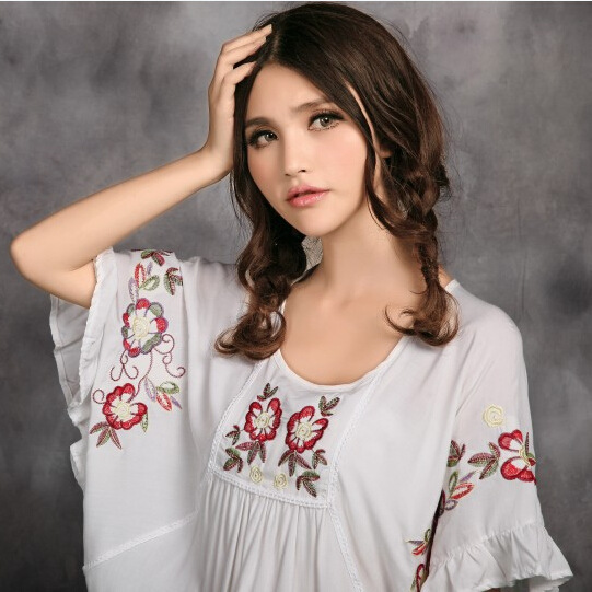 white lake Blusas Floral Blusa E296 O Blue Tops Ethnique Femme West Blue Manches cou Chauve red Red souris Rose Chemise Summer 2019 hide Broderie New Blouse Style anFxTwF