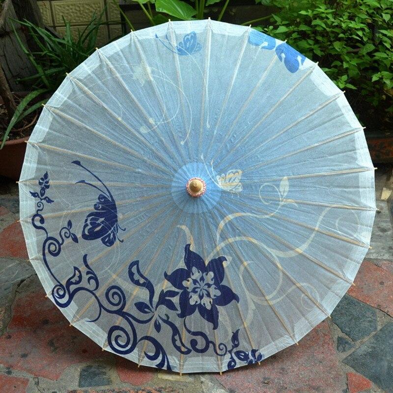 Blue Pentagram Flower Paper Umbrella Women Traditional Dance Parasol Japanese Oil Paper Props paraguas South Rain Lady Umbrella