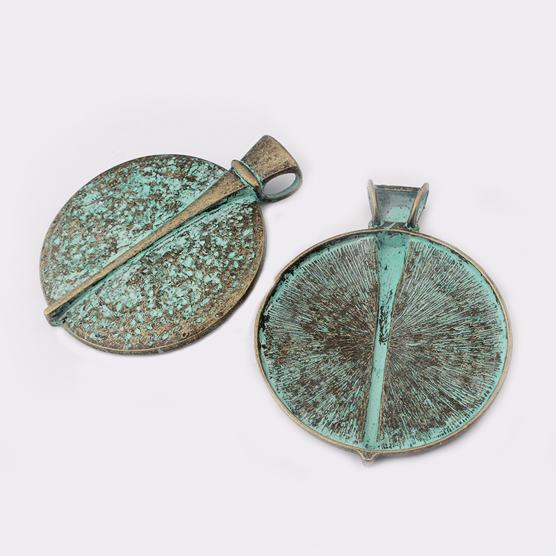 2Pcs Antique Silver Round Shape Charms Turquoise Stone Pendants Jewellery Making