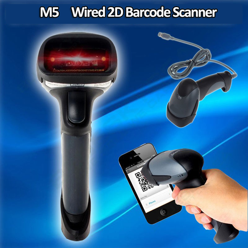 M5 Portable Hand-held 2D Barcode Scanner Wired USB Scanner QR Code PDF417 DataMatrix Laser Bar Code Scanner 2D For Mac OS industrial handheld usb 2d barcode scanner 2d code scanner qr reader pdf417 bar code scanner sm 6278