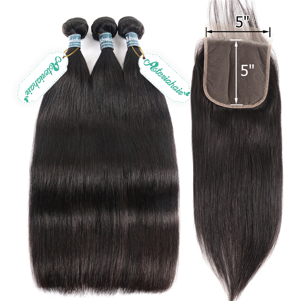 Asteria Hair-Bundles Closure Lace Brazilian-Hair Weave Straight with 5x5 Remy Naturalblack