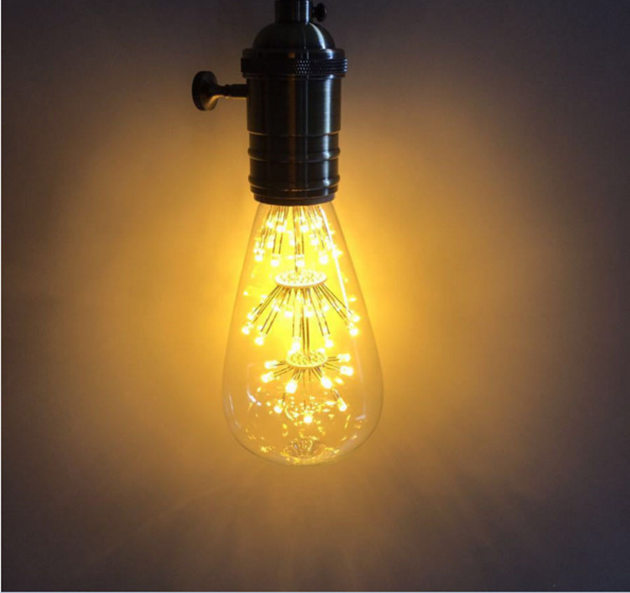Led bulb E27 2W Vintage Edison lamp ST48  transparent Glass Filament light Retro lamps AC220V edison led filament bulb g125 big global light bulb 2w 4w 6w 8w led filament bulb e27 clear glass indoor lighting lamp ac220v