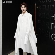 MIXCUBIC 2017 Autumn British style unique Asymmetry length design shirts men Long section casual loose white