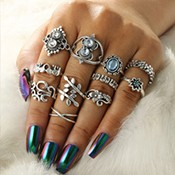 4 Pair/set Bohemian Retro Personality Hollow Drop Gems Geometric Crystal Stud Earrings Set Women Charm Party Jewelry Accessories
