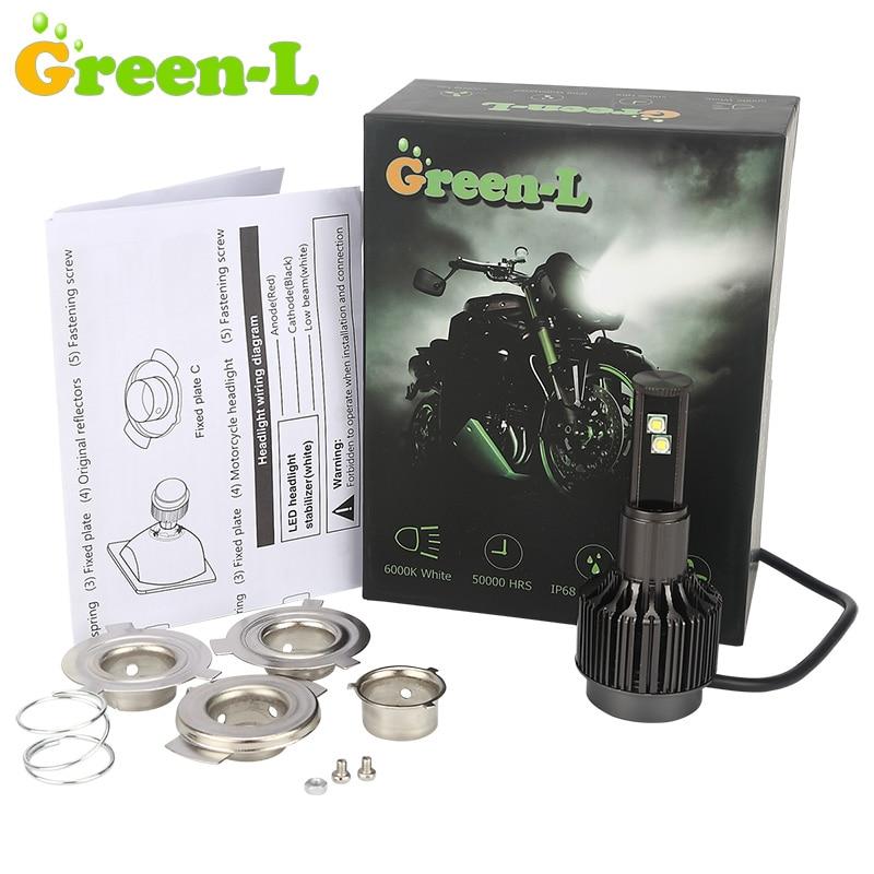 Green-L 12V 3500lm H4 Led Motorcycle Headlight BA20D H6 Moto Bike Lamp Scooter motorbike headlamp Hi/Lo Beam IP68 6000K White