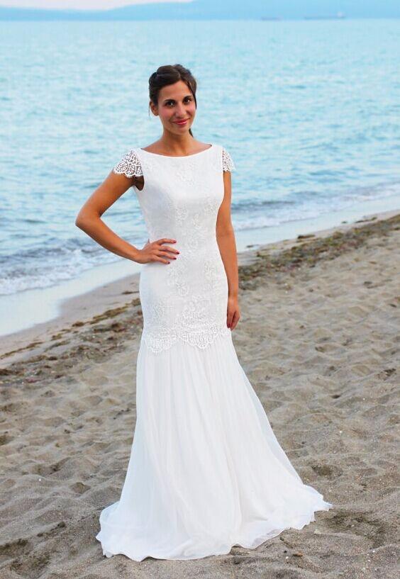 Beautal Beach Wedding Dress Round Neck Backless Floor