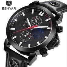 купить Benyar New Luxury Chronograph Sport Watches Man Military Brand Fashion Waterproof Black Quartz Watch Male Relogio Clock по цене 1564.22 рублей