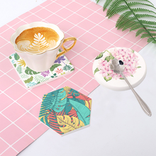 Ins Green leaf diatom mud cup pad suction anti-ironing diatomite tea table Creative Insulation silicone place mat coasters