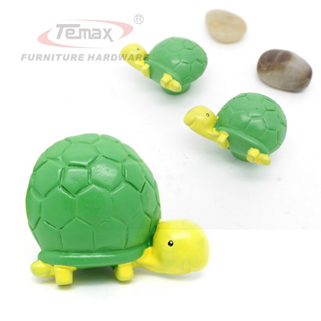 2PCS Cute Cartoon Green Turtle Cabinet Drawer Gate Dresser Door Pull Knobs Handles Kitchen Kids Bedroom
