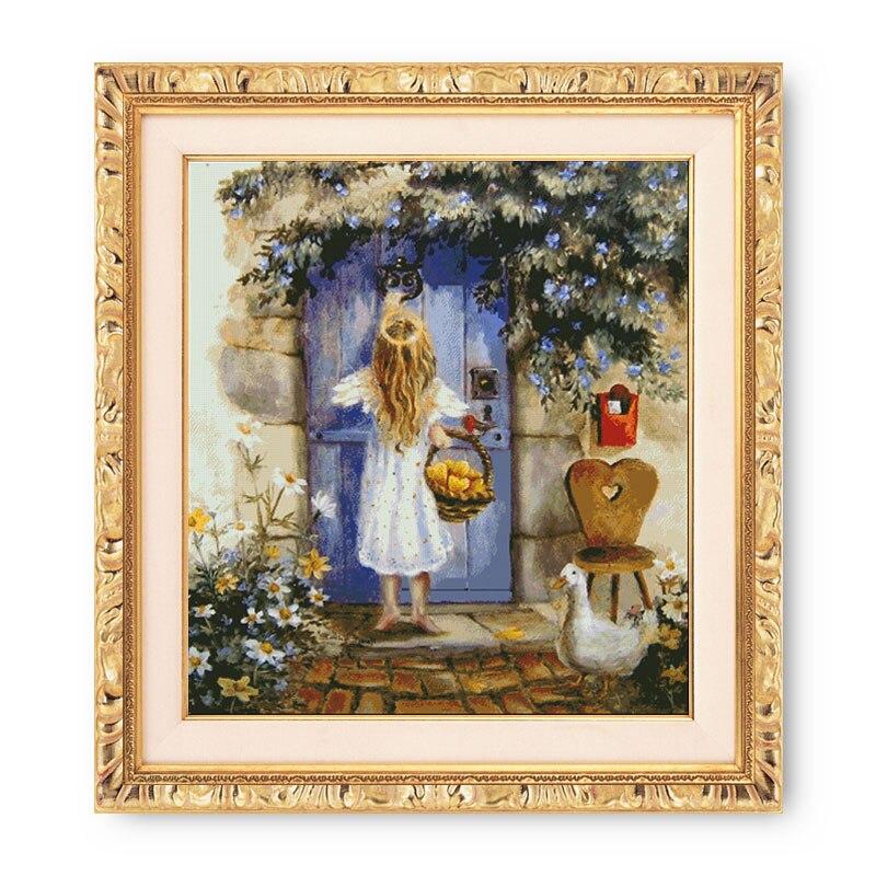 Fishxx point de croix E221 ange fille pour amour Fruits peinture à l'huile grand modèle Kit de broderie à la main