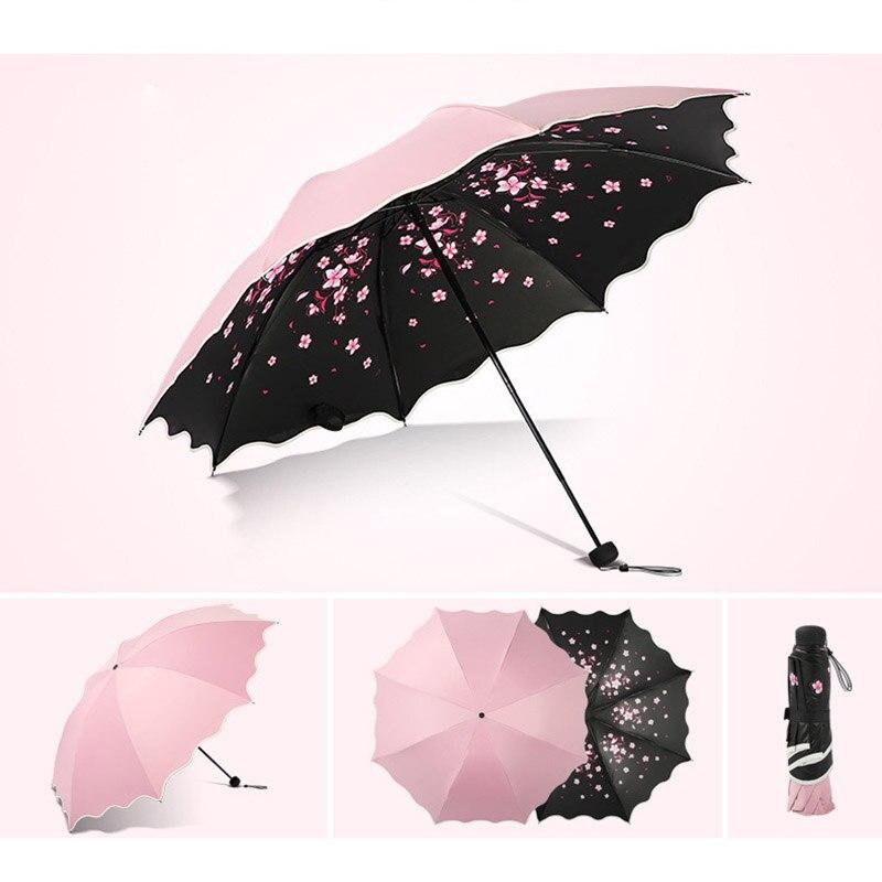 Image 4 - Brand Flower Umbrella For Women Folding Fashion Girl Parasol Sun Portable Strongly Rain Female Sun UV clear Umbrellas Light-in Umbrellas from Home & Garden