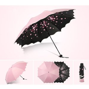 Image 4 - Brand Flower Umbrella For Women Folding Fashion Girl Parasol Sun Portable Strongly Rain Female Sun UV clear Umbrellas Light