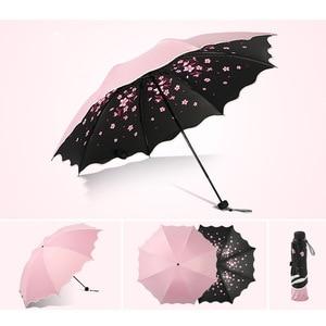 Image 4 - Marke Blume Regenschirm Für Frauen Klapp Mode Mädchen Sonnenschirm Tragbare Dringend Regen Weibliche Sonne UV klar Regenschirme Licht