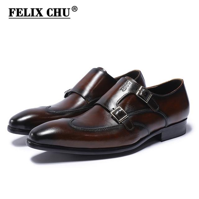 6442720e0d96 FELIX CHU Classic Genuine Leather Double Buckles Men s Dress Shoes Formal  Wedding Office Man Brown Black Monk Strap Footwear