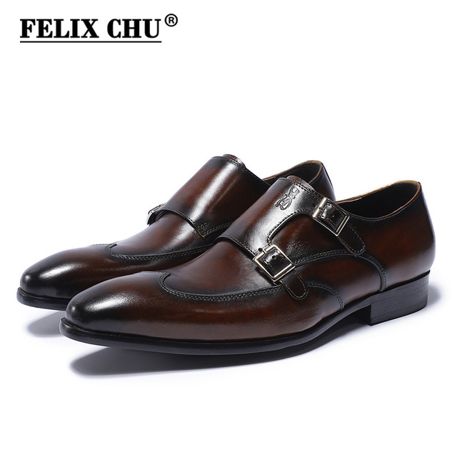 f272b61593 FELIX CHU de cuero genuino clásico doble hebillas Zapatos de vestir de los  hombres Formal boda