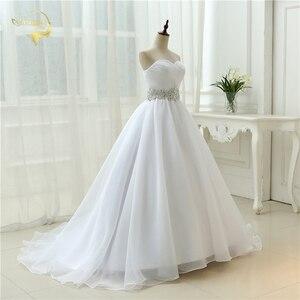 Image 4 - Vendita calda Bianco Vestido De Noiva 2020 di Nuovo Disegno UNA linea Perfetta Cinghia Robe De Mariage Senza Spalline Lace Up abito Da Sposa abiti OW 7799