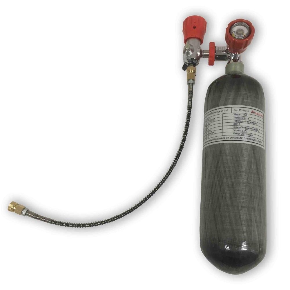 AC1217101 2.17L Scuba Carbon Fiber Tank 4500Psi/300Bar Compressed Air Tank Thread M18*1.5 Gauge Compressed Air  Cylinder Pcp