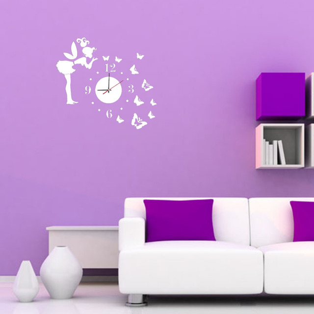 3D Wall Clock Wall Mirror Sticker Clock Watch Mirror Stickers Home Butterfly  Wall Decor Decals Wall