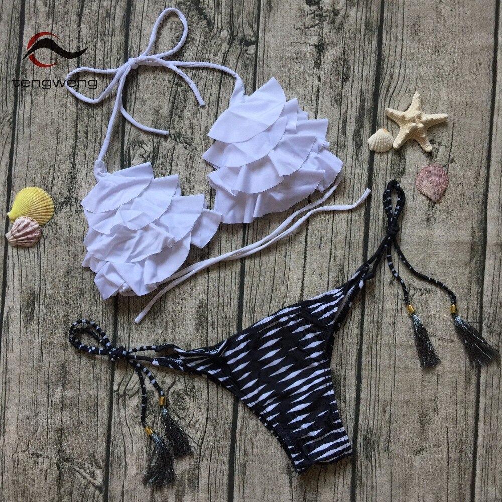 2017 Swimwear Women Halter Two Piece Push Up Bikini Set Ruffle Swimsuit Push Up Print Bikini Large Size Female BathingSuit Cheap