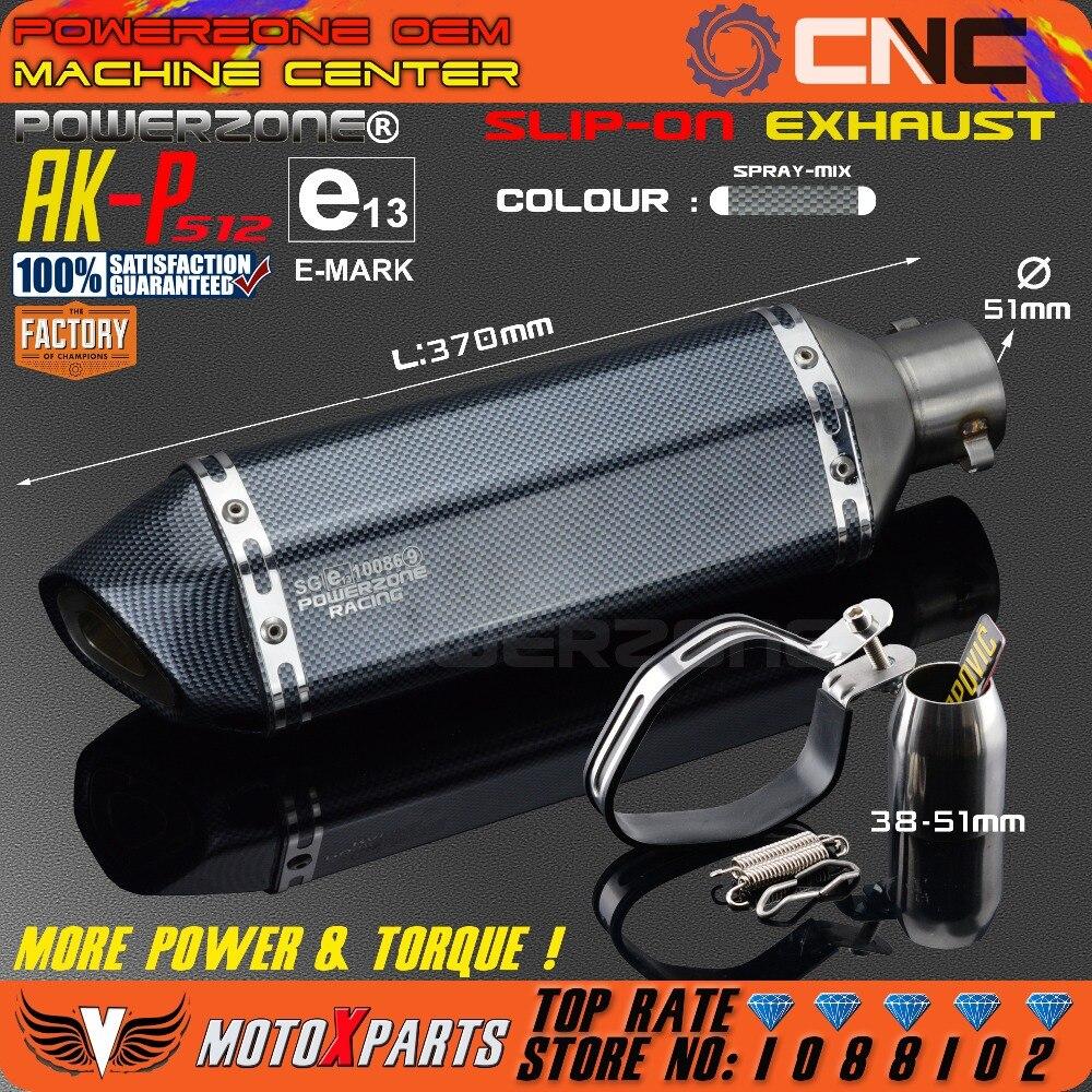 AK-P512 Moto modificate Tubo Di Scarico Silenziatore CBR CB400 CB600 CBR600 CBR1000 KTM 990 DUKE ER6N ER6R YZF600 TTR ATV Dirt Bike