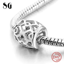 Hollow Out Beads Fit Original pandora Bracelet Necklace Authentic 925 Sterling Silver Jewelry Love Accessories For Women Gifts graceful hollow out beads necklace for women