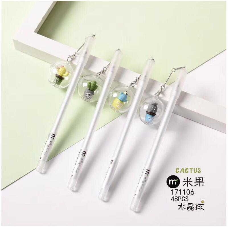 New Cactus Crystal Ball 0.5mm Gel Ink Pen Promotional Gift Stationery School & Office Supply 4pcs new for ball uff bes m18mg noc80b s04g
