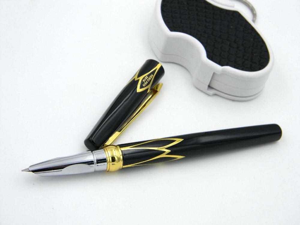HERO Classic GOLDEN and black red Trim F Nib Fountain Pen genium hero 100 pen total steeless 14k golden fine nib fountain pen
