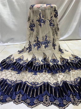 H-1971006 fashionable  tulle embroidery french net lace fabric with many stones  for party dress