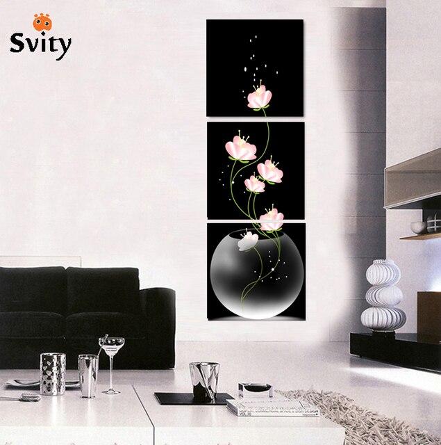 3 stücke beliebte moderne leinwand wandmalerei abstrakte blumen modulare bild hochzeit dekoration für wohnzimmer hd drucken