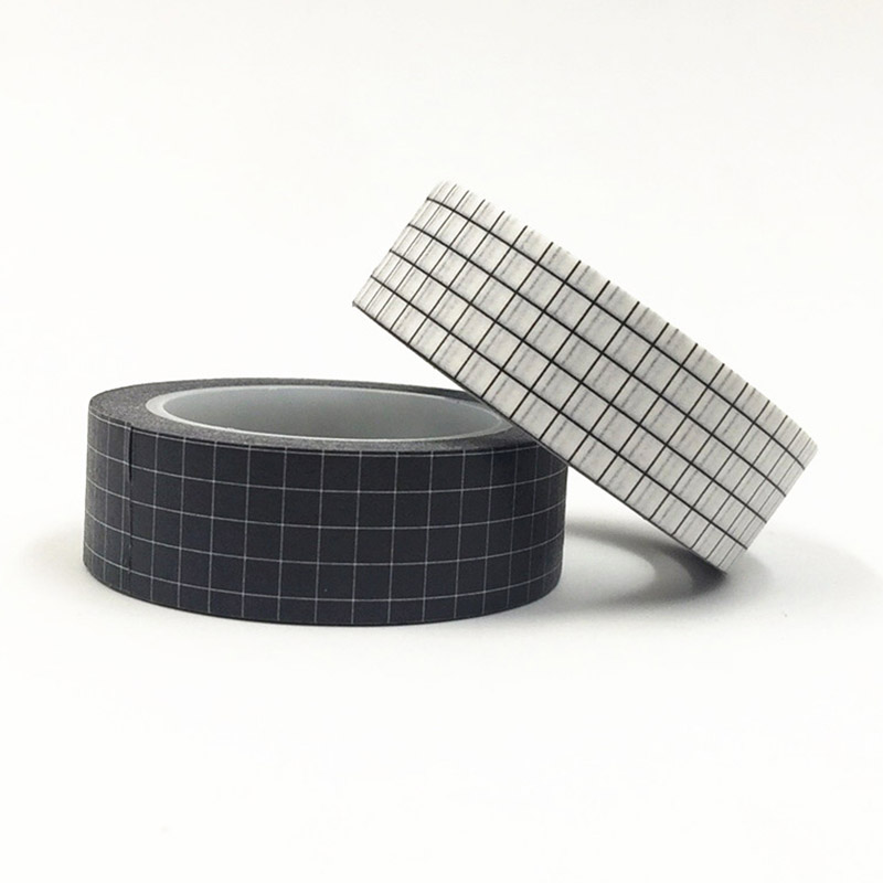 10M Black & White Grid Washi Tape Japanese Paper DIY Planner Colored Adhesive Masking Tapes Stickers Decorative Stationery Tapes