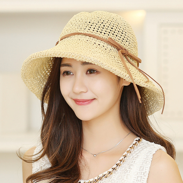 15c88285 Summer Straw Hats Women Fashion Wide Brim Floppy Hat Girls Sun Visors Caps  Elegant Bow Sombreros Casquette 4 Color B-8087