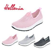 Helleniagirls helle Wohnungen gehen Mädchen Schuhe Frühling Sommer Mode Turnschuhe Frauen komfortable atmungsaktive Luft Mesh-Größe 35-40