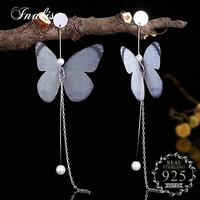INALIS Butterfly Wing White Imitation Pearl Dangle Drop Earrings For Women Gift Wholesale Jewelry 925 Sterling