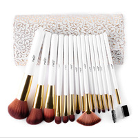 New Fashion 15Pcs Makeup Cosmetic Foundation Powder Makeup Brushes With Bag Hot Selling Beauty Easy